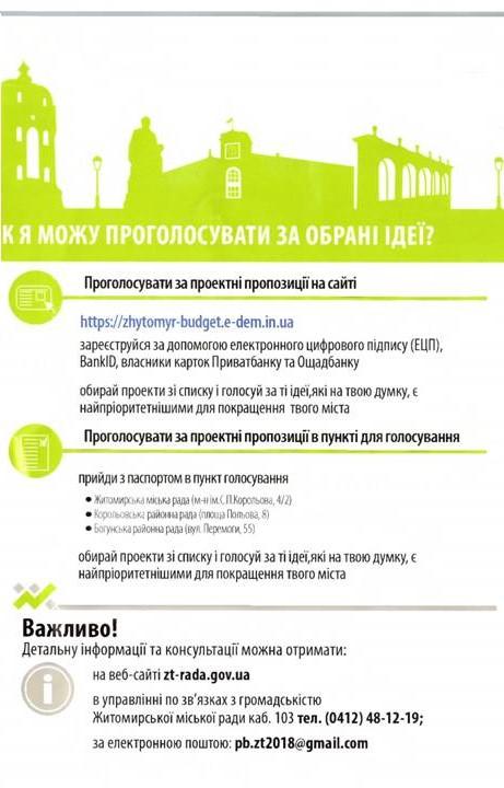 Проголосуй за кращі проекти до бюджету участі 2018 року